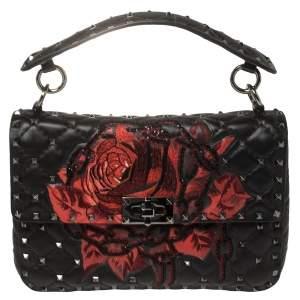 Valentino Black Embroidered Beaded Leather Medium Rockstud Spike Top Handle Bag