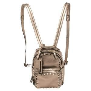 Valentino Metallic Beige Pebbled Leather Mini Rockstud Backpack