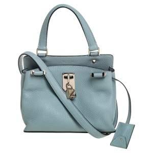 Valentino Light Blue Leather Joylock Top Handle Bag
