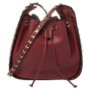 Valentino Red Leather Rockstud Bucket Shoulder Bag