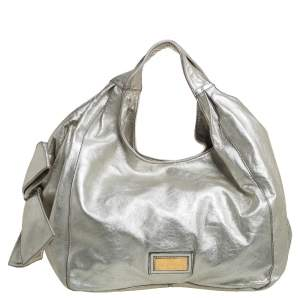 Valentino Silver Leather Nuage Bow Hobo