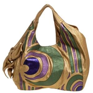 Valentino Metallic Multicolor Spiral Patch Leather and Snakeskin Embossed Nuage Bow Tote