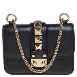 Valentino Black Leather Mini Rockstud Glam Lock Flap Bag