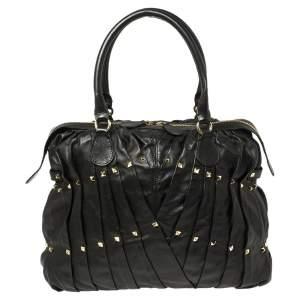 Valentino Black Leather Rockstud Boston Bag