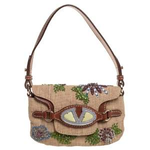 Valentino Beige/Brown Canvas And Leather VRing Embellished Double Flap Baguette Bag