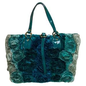 Valentino Blue Organza and Patent Leather Rosier Tote