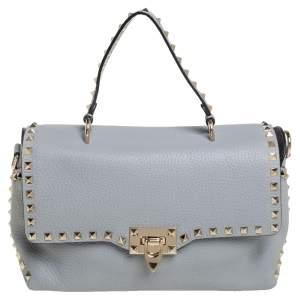 Valentino Grey Leather Rockstud Top Handle Bag