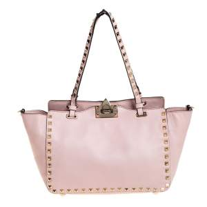 Valentino Pink Leather Small Rockstud Trapeze Tote