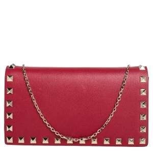 Valentino Red Leather Rockstud Wallet on Chain