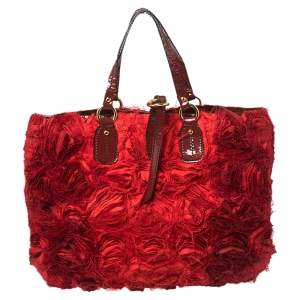 Valentino Red  Rosier  And Patent Leather Tote
