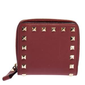 Valentino Red Leather Rockstud Compact Wallet