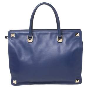 Valentino Blue Leather Studs Top Zip Tote