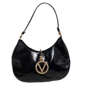 Valentino Black Patent Leather Hobo