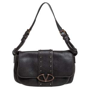 Valentino Dark Brown Pebbled Leather VRing Flap Hobo