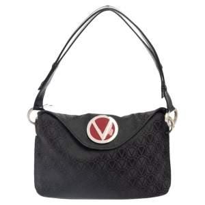 Valentino Black Monogram Canvas and Leather Round VRing Logo Baguette Bag