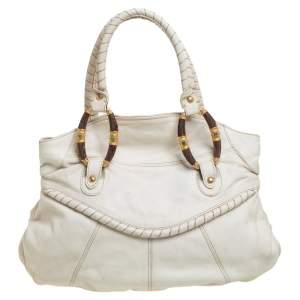 Valentino White Leather Braided Handle Shoulder Bag