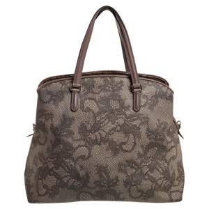 Valentino Beige Leather And PVC Satchel