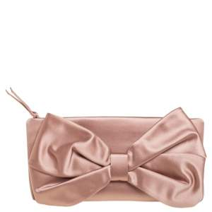 Valentino Nude Pink Satin Bow Clutch
