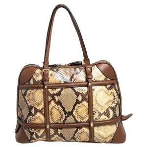 Valentino Beige/Brown Python and Leather Tote