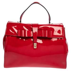 Valentino Red Patent Leather Top Handle Bag