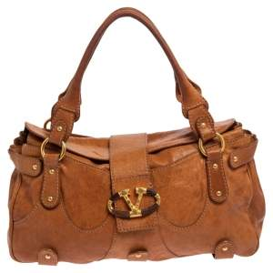 Valentino Brown Leather V logo Satchel