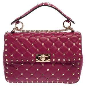 Valentino Fuchsia Quilted Leather Medium Rockstud Spike Shoulder Bag