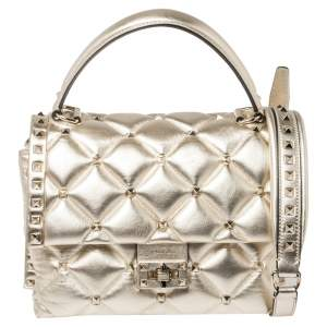 Valentino Gold Quilted Leather Medium Candystud Top Handle Bag