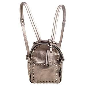 Valentino Metallic Bronze Pebbled Leather Mini Rockstud Backpack