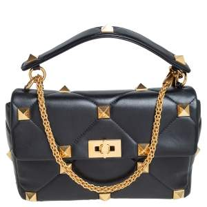 Valentino Black Leather Large Roman Stud The Shoulder Bag