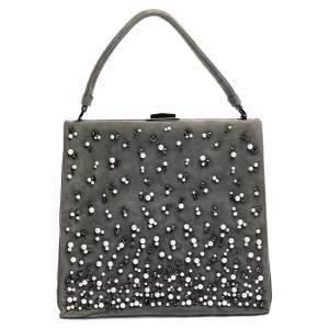 Valentino Grey Suede Crystal Embellished Frame Top Handle Bag