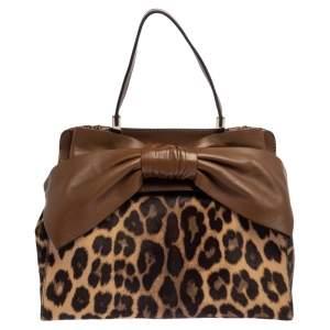 Valentino Brown Leather And Calf Hair Animal Print Aphrodite Bow Bag