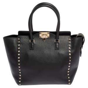 Valentino Black Leather Small Rockstud Shopper Tote