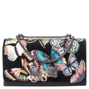 Valentino Black Embroidered Suede and Leather Camu Butterfly Shoulder Bag