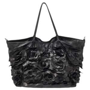 Valentino Black Leather Floral Applique Tote
