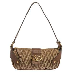 Valentino Brown/Beige Canvas and Leather VRing Flap Baguette Bag