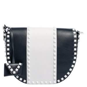 Valentino Blue/White Leather Free Rockstud  Saddle Bag
