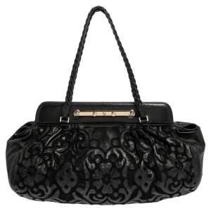 Valentino Black Leather Floral Embroidered Frame Satchel