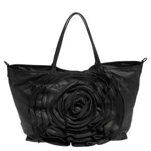 Valentino Black Denim XL Petale Rose Tote