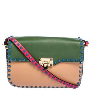 Valentino Multicolor Leather Medium Rockstud Flap Shoulder Bag