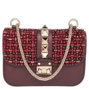 Valentino Brown Leather Mini Glam Lock Shoulder Bag