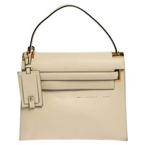 Valentino Off White Leather My Rockstud Top Handle Bag