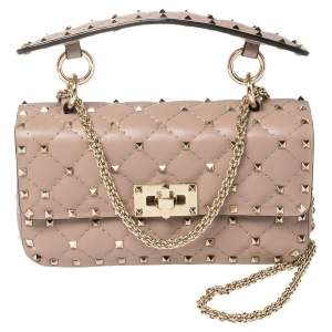 Valentino Beige Quilted Leather Small Rockstud Spike Chain Shoulder Bag