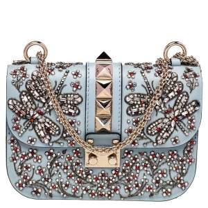 Valentino Grey Leather Embellished Rockstud Glam Lock Chain Shoulder Bag