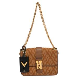 Valentino Beige/Brown Logo Canvas And Leather Rockstud Flap Shoulder Bag