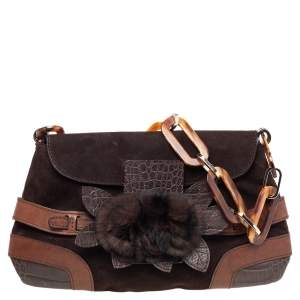 Valentino Brown Fur and Croc Embossed Leather Chain Strap Shoulder Bag