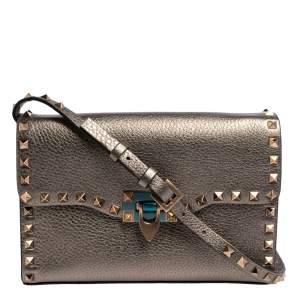Valentino Metallic Leather Small Rockstud Crossbody Bag