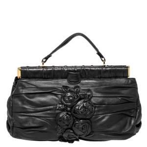 Valentino Black Leather Rose Frame Satchel
