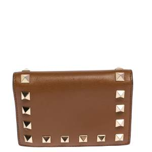 Valentino Brown Leather Rockstud Compact Wallet
