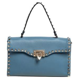Valentino Blue Leather Rockstud Top Handle Bag