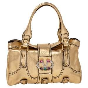 Valentino Metallic Gold Leather Crystal Embellished Catch Shoulder Bag